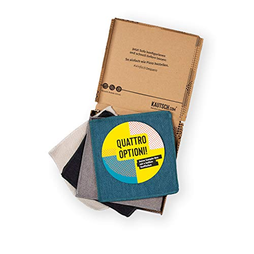 KAUTSCH Stoffmuster für Lotta und Mette Sofa Sessel Hocker - Stoffproben Stoff-Muster-Box - Fabric Sample - blau grau Creme Petrol