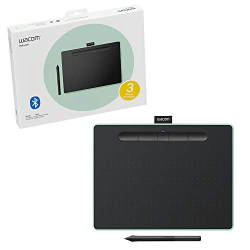 Wacom Intuos Wireless Graphics Drawing Tablet for Mac, PC, Chromebook & Android (medium) with Software Included - Black with Pistachio accent (CTL6100WLE0)