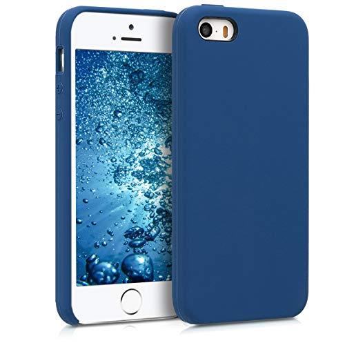 kwmobile Custodia Compatibile con Apple iPhone SE (1.Gen 2016) / 5 / 5S - Cover in Silicone TPU - Back Case per Smartphone - Protezione Gommata Blu Marino