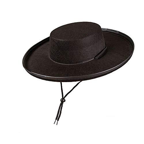 Felt Black Bandit Hat - Adult Fancy Dress Accessory