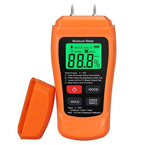 Proster Misuratore Umidità Legno Igrometro Legno Foglio Parete Retroilluminazione Digitale LCD Display Rilevatore Umidità per Legno Parete Cartongesso-Arancio