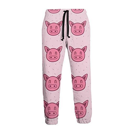 AEMAPE Pantalones Deportivos para Hombre con patrón de Cerdo, Pantalones Deportivos de Lana a la Moda con cordón y Bolsillos