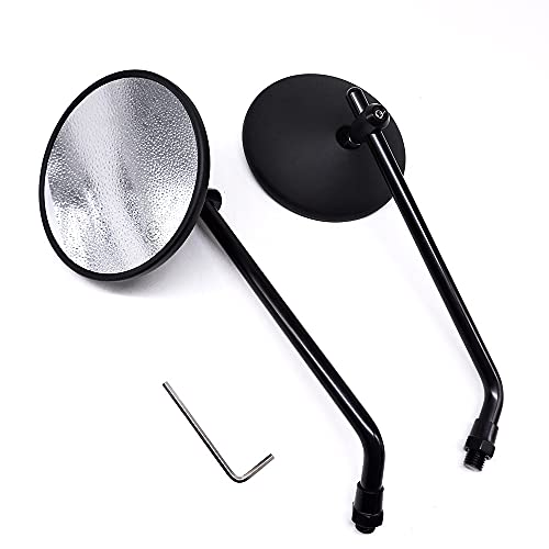 WBBNB Universal Motorcycle Round Side Rear View, E9 Mirror Motorcycle Page Mirror E-Bike Scooter Rear Pieces 10mm