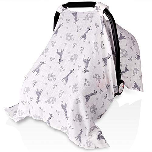 Baby Car Seat Covers for Boys Girls, Metplus Muslin Infant Carseat Canopy, Lightweight Breathable Newborn Carrier Canopies Stroller Cover, Universal Fit Large Size 47.2 x 35.4 inch, Elephant Giraffe
