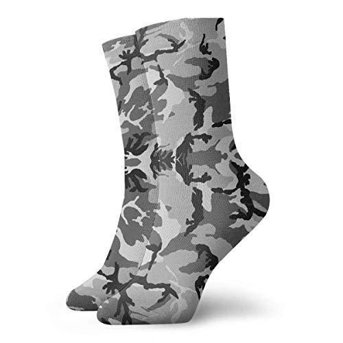 Unisex Hellgrau Camouflage Classic Crew Socken Atmungsaktiv Fantasy Knöchel Laufen Wandern Socken Wochenende Sport Athletic Socken Kurze Crew Socken 30 cm