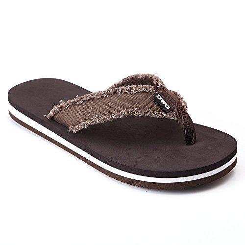 DWG Men's Soft Flip-Flops Sandals Light Weight Shock Proof Slippers, Brown, 10 D(M) US