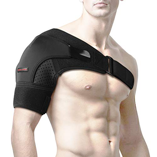 Shoulder Brace by SYOSIN - Rotator Cuff Support for Injury Prevention, Dislocated AC Joint, Labrum Tear, Tendonitis and Fracture - Shoulder Compression Sleeve with Pressure Pad for Men & Women(M)