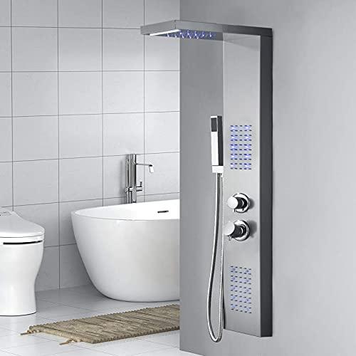 LARS360 Duschpaneel Duscharmatur aus Silber Rostfreiem Edelstahl, 4 in 1 Duschsystem mit Blau LED, Handbrause, Regendusche, Massagedusche und Wasserfalldusche, Duschset für Badezimmer Dusche