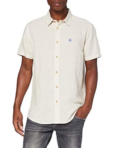 Springfield Linen Short Sleeve Franq-C/51 Camisa Casual, (Beige 51), Large (Tamaño del fabricante: L) para Hombre