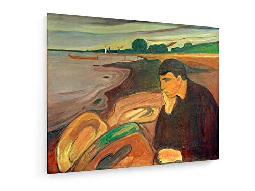 Edvard Munch - Melancholie - Gemälde um 1894-50x40 cm - Textil-Leinwandbild auf Keilrahmen - Wand-Bild - Kunst, Gemälde, Foto, Bild auf Leinwand - Alte Meister/Museum