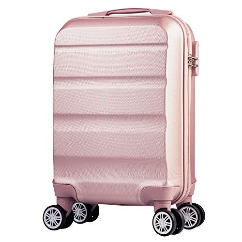 Reisekoffer 4 Rollen Handgepäckkoffer Hartschale Kleiner Koffer Trolley Kinder Gepäck leicht Rollkoffer in 53x33x20cm Hartschalenkoffer Rosagold