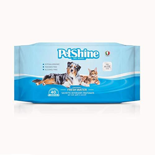 PORRINI Toallitas Higiene para Perro y Gato, Agua Fresca, 40 uds, Perro
