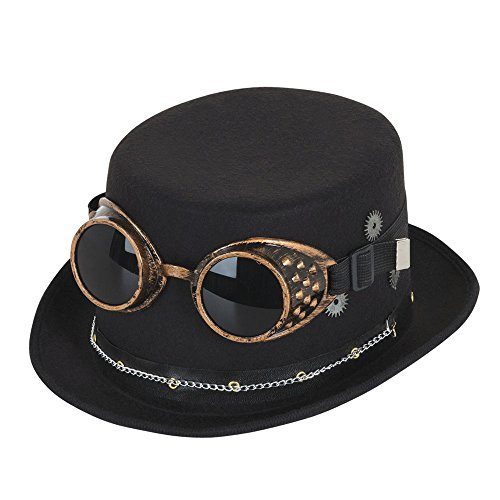 Bristol Novelty BH673 Steampunk Top Hat with Goggles and Gears, Mens, Black, One Size steampunk buy now online
