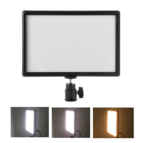 Docooler Ultra-Thin LED Video Light Dimmable 3200K-6200K Bi-Color Photography Fill Light 987 Lumens CRI 95 Power 15W with Hot Shoe Ball Head Compatible with Canon Nikon Sony DSLR Camera DV Camcorder