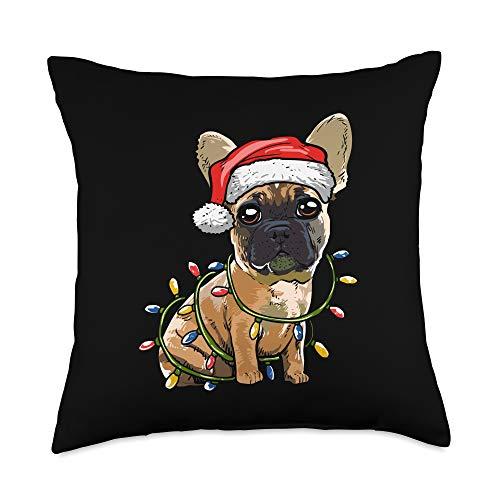 Funny Christmas Frenchie Owner Gift Idea Cute French Bulldog Santa Christmas Tree Lights Xmas Throw Pillow, 18x18, Multicolor