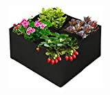 Plant Grow Bags 4 Grids Square Heavy Fabric Raised Garden Bed Pot for Vegetable, Large Durable Breathe Cloth Planting Container for Potato, Carrot, Onion, Flower, 2Ft x 2Ft (1, 3 FT X 3 FT)