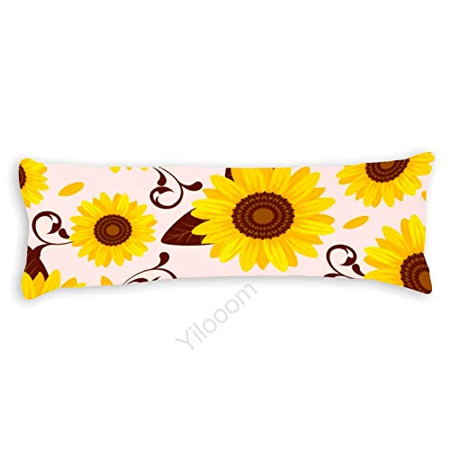 Funda de almohada para el cuerpo, funda de almohada protectora de almohada con cierre de cremallera para decoración del hogar, 50 x 122 cm, girasol #28