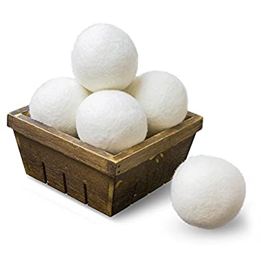 SnugPad Wool Dryer Balls Natural Fabric Softener, White