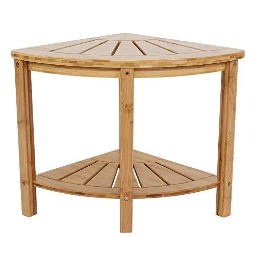 TANKE Corner Shower Stool - Premium Bamboo Bathroom Chair with Shelf, Shower Bathing Organizer, 15.0 * 15.0 * 16.5 in