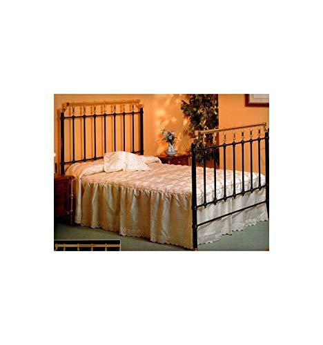 Cabecero de forja y latón Antiguo - Blanco, Brillante, Cabecero para colchón de 90 cm