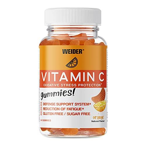Weider Vitamin C Gummies. Gominolas de Vitamina C. Sin Azúcares y Sin Gluten. 84 gummies. Sabor mandarina.
