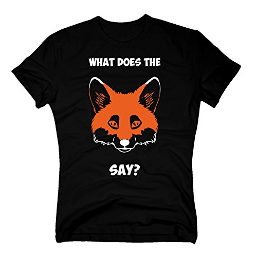T-Shirt What Does The Fox say Fuchs Tier Füchse Foxy Fuchskopf, XXXL, schwarz