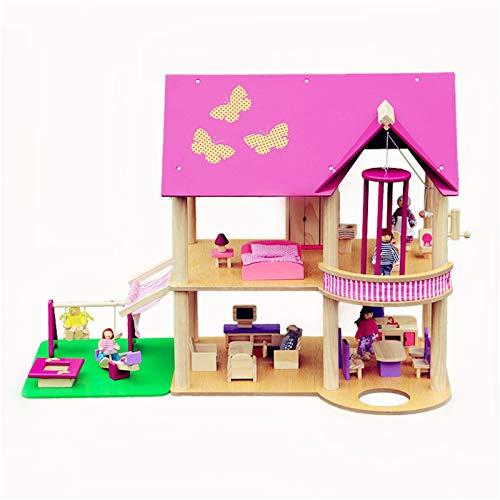 Anmy Puppenhaus Modell Großes hölzernes Puppenhaus mit Möbeln 3D-Puzzle-Hausmodell für Kinder (Farbe : Pink, Size : 82×57×42 cm)