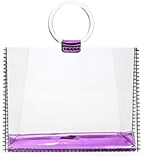 TOOGOO Acrylic Transparent Clutch Handbag Women Shoulder Bags Hard Day Clutches Bags Party Evening Beach Purse Big Size Jelly Bag Purple