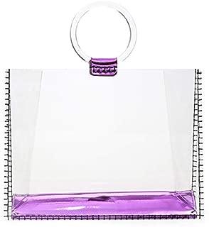 TOOGOO Acrylic Transparent Clutch Handbag Women Shoulder Bags Hard Day Clutches Bags Party Evening Beach Purse Big Size Jelly Bag Purple