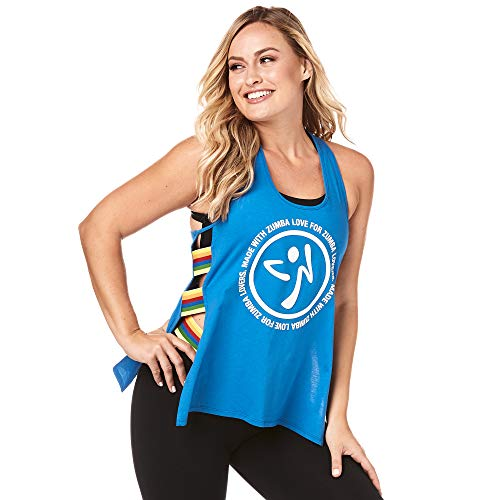 Zumba Athletic Open Side Fashion Tank Top Breathable Dance Women Workout Tops, True Blue, S