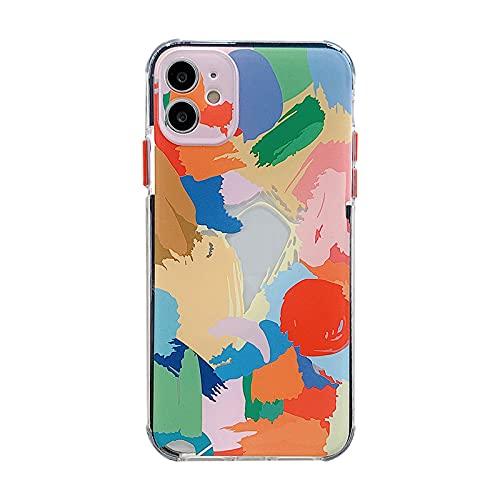 HHZY Funda Compatible con iPhone 12 Carcasa Patrón de Graffiti de Color con Protector de Lente de Cámara Ultra Fina Cubierta Trasera Suave de Silicona TPU A Prueba de Golpes,Color,11 Pro MAX
