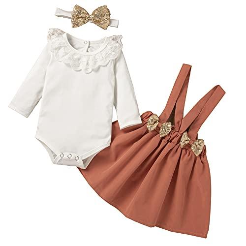 DERCLIVE Conjunto de ropa para niña recién nacida, cuello de encaje, falda de lentejuelas, diadema con lazo, White + Brick Red, 12-18 Meses