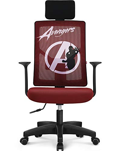 Marvel Avengers Office Chair Computer Desk Headrest Chair Gaming - Ergonomic High Chair Cushion Lumbar Support Wheels Comfortable Mesh Racing Seat Adjustable Swivel Rolling Home Executive