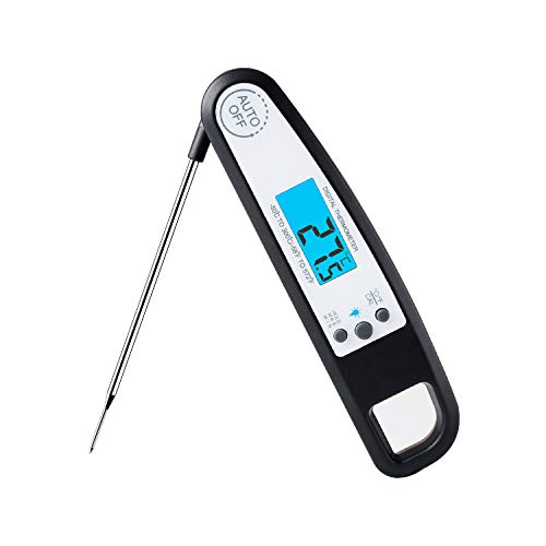 Waterproof Instant Read Meat Thermometer Ultra Fast Digital Thermometer with LCD Backlight Display Kitchen Cooking Oven Thermometer Food Thermometer for Candy Grilling BBQ with Magnet and Hook
