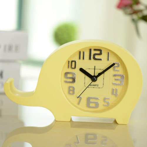 UNAKIM--Creative Elephant Shape Desk Clock Candy Color Bedroom Alarm for Kids (yellow)