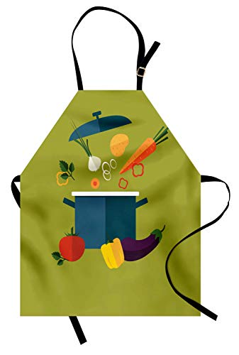 Ambesonne Vegetable Art Apron, Vegetarian Soup with Ingredients Cooking Pot Diet Heath Well Being Theme, Unisex Kitchen Bib with Adjustable Neck for Cooking Gardening, Adult Size, Blue Green