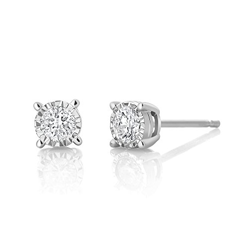 Gem Stone King IGI Certified 10k White Gold Diamond Illusion Set Stud...