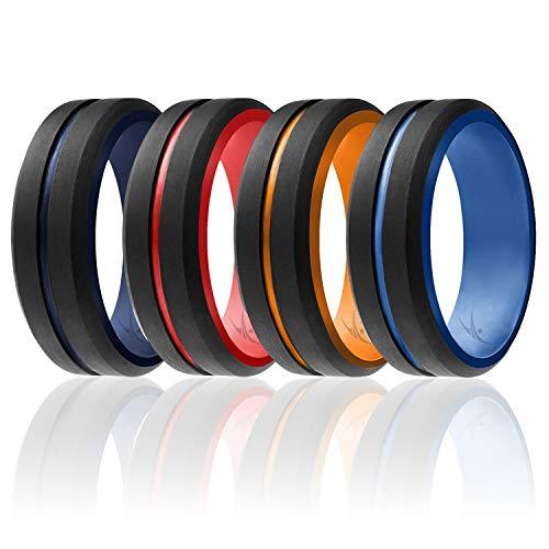 ROQ Anillo de boda de silicona para hombre – Colección Duo estilo paso – 4 paquetes y bandas de boda de goma de silicona individuales, 7 (17.35mm), Black, Orange, Red, Dark Blue, Light Blue