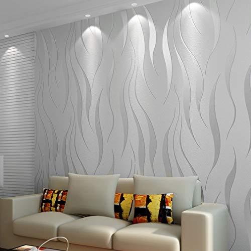3D-Tapete, Vlies-Tapete 10 x 0,53 m Eleganz-Tapete neobarocke, glamouröse, klassische, einfache Tapete für das Wohnzimmer im Wohnzimmer, den Innen- und den TV-Hintergrund (Silber grau)