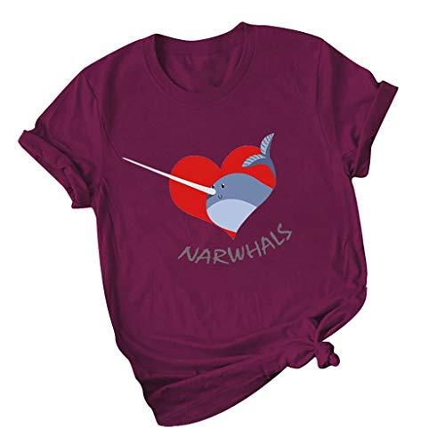 Damen Sommer T-Shirt Kurzarml Freizeit O Ausschnitt Frauen Sexy Bedruckt Stretch Weste Schnüre Schlankes Tee Polyester Hemden Yoga Übergroße Lose Bluse Tops (EU:36, Wein)