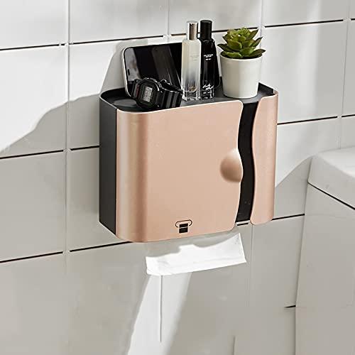YQX-Soporte De Papel Higiénico Adhesivo Autoadhesivo Impermeable Montado En La Pared Soporte De Papel De Cocina para Baño para Teléfono Inteligente,Oro