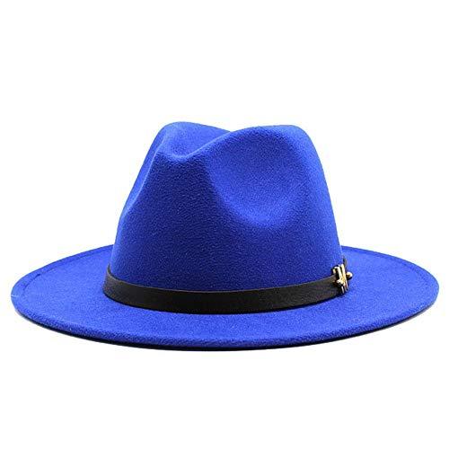 Ombra Cappello di jazz di Fedora cappello a cilindro e Uomo Donna Autunno Inverno Cotton Bombetta Lettera decorazioni di Panama cappello di paglia Elegante ( Color : Blue , Size : 59-61cm )