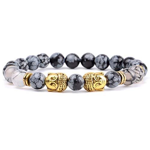 Armbanden Natuurlijke Sneeuwvlok Jasper Zwart Beaded Armband Mannen Verguld Dubbele Boeddha Bedel Armbanden Bangles Voor Vrouwen Yoga Sieraden