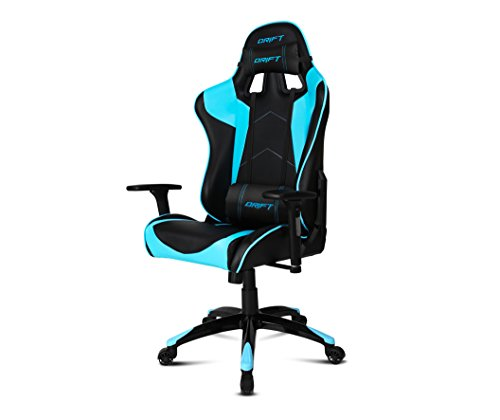 Drift DR300BL - Silla Gaming profesional, polipiel, reposabrazos 3D, piston clase 4, asiento basculante, altura regulable, respaldo reclinable, cojines lumbar y cervical, color negro/azul