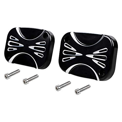 1 Pair of Edge Cutting Front Brake Clutch Master Cylinder Cover Compatible with Harley Night Rod Special V Rod Muscle VRSCF VRSCDX 2010-2017 (2pcs, Left&Right) (Shallow Cutting)