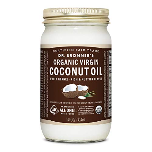 Dr. Bronner's - Organic Virgin Coconut Oil (Whole Kernel, 14 ounce) - Coconut Oil for Cooking, Baking, Hair & Body, Unrefined & Fresh-Pressed, Rich & Nutty Flavor, Fair Trade, Vegan, Non-GMO