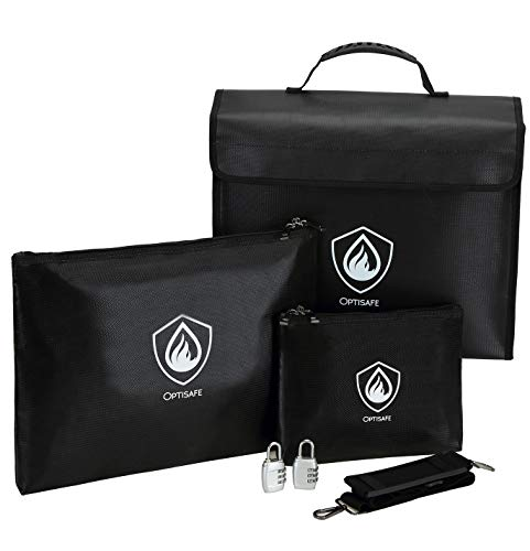 Fireproof Document Bags, Waterproof and Fireproof Money Bag with Zipper, Storage Pouch for Documents with Strap, Portable 2 Sizes Money Safe Bags Bank Deposit Bags for Money and Cash and Coin