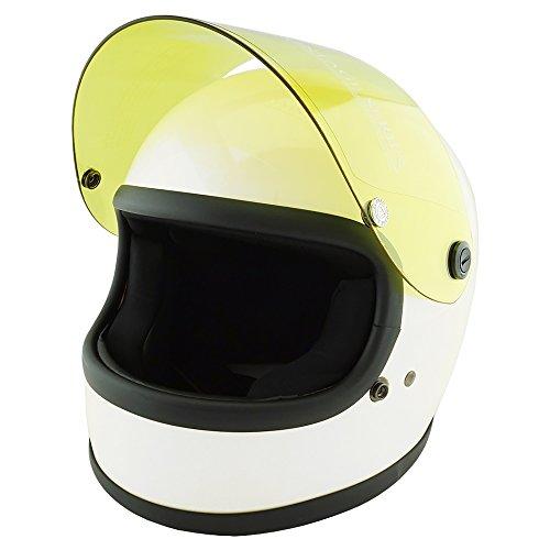 NEO VINTAGE レトロスタイル フルフェイス SG規格品 [ホワイト×イエローシールド 白 Lサイズ:59-60cm対応] VT-7 バイクヘルメット