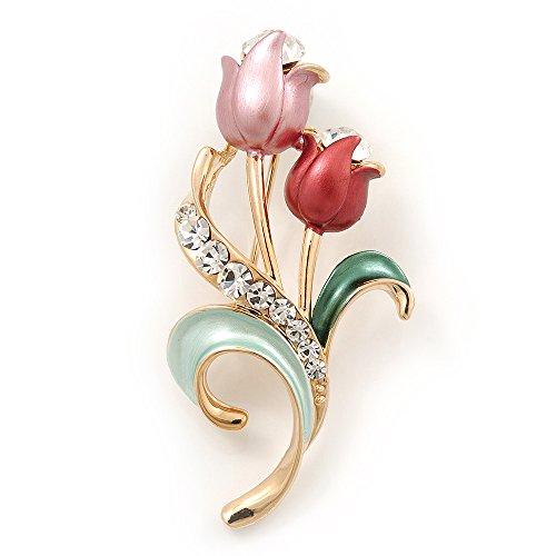 Avalaya Pink Enamel Diamante 'Tulip' Brooch in Gold Finish - 5cm Length
