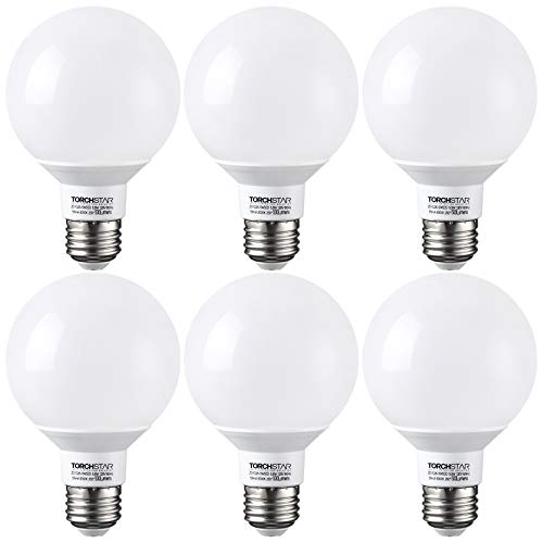 TORCHSTAR G25 Globe led Bulb, Dimmable Vanity Light, 5.5W (60W Eqv.), UL-Listed, 5000K Daylight for Makeup Mirror, Pendant, Bathroom, Dressing Room, 3-Year Warranty, Pack of 6